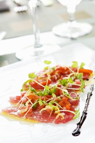 Tuna Sashimi with Chilies, Extra Virgin Olive Oil and Maldon Sea Salt