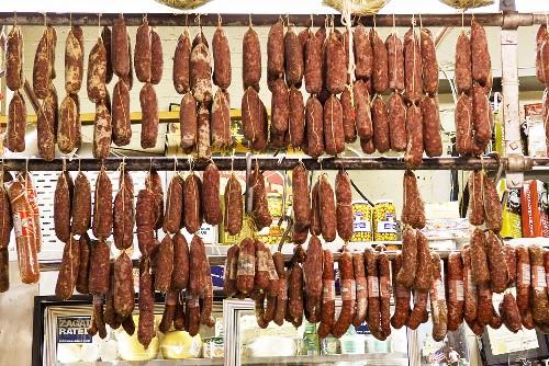 Salami Hanging in an Italian Market