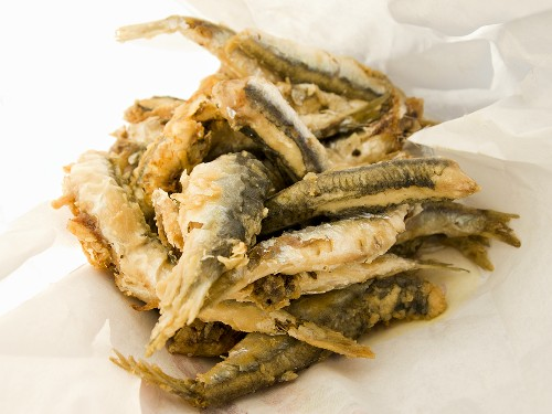 Deep Fried Smelts; Typical Street Food of Genoa, Liguria, Italy at Terra Madre (Street Fair)