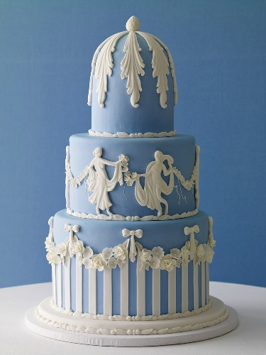 Three Tiered Blue and White Wedding Cake
