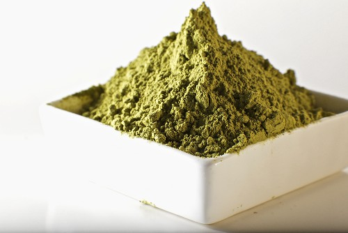 Green Tea Powder in a White Square Dish