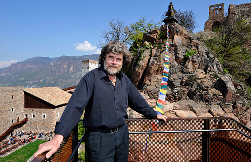 Reinhold Messner in front of Sigmundskron castle with Messner Mountain museum, Alto Adige, South Tyrol, Italy, Europe