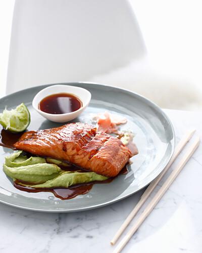 Plate of salmon and wasabi sauce. WasabiSalmon