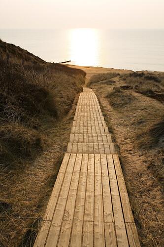 Evening mood, Wooden boardwalk through the dunes, Red Cliff, Kampen, Island Sylt, Schleswig-Holstein, Germany