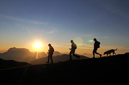 Female hikers at mount Steinplatte, Waidring, Tyrol, Austria