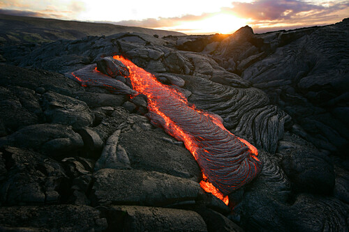 Volcanic Flow, Hawaii, Usa