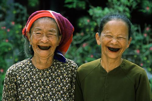 Lacquered teeth, Hue, Vietnam, Indochina