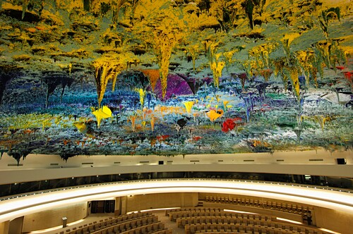 In the Human Rights and Alliance of Civilization Chamber, ceiling sculpture designed by Miquel Barceló, United Nations, Palais des Nations, Geneva, Switzerland