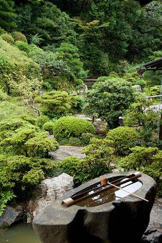 'Rock Water Feature In A Garden; Kyoto, Japan'