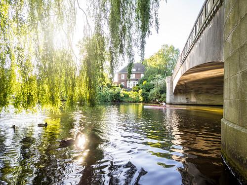Kayaking on the River Alster, Hanseatic City of Hamburg, Germany, Europe