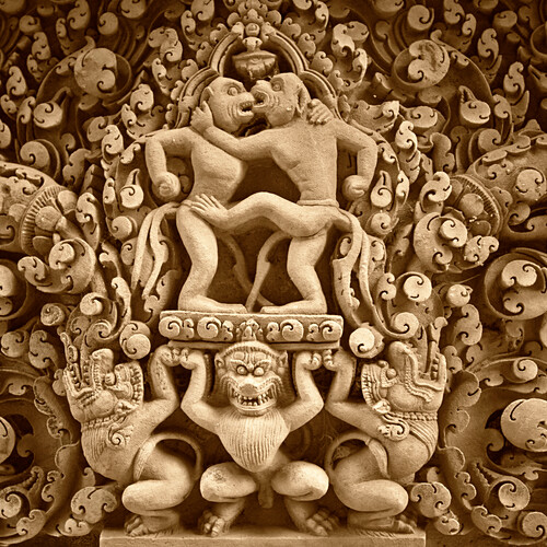 Relief im Banteay Srei Tempel, Angkor Wat , Kambodscha