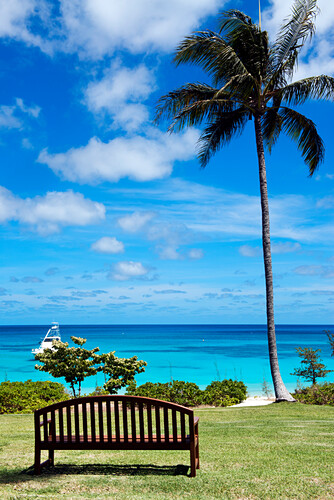 Vom Resortgarten hat man einen schönen Blick über die Anchor Bay, Lizard Island, Queensland, Australien
