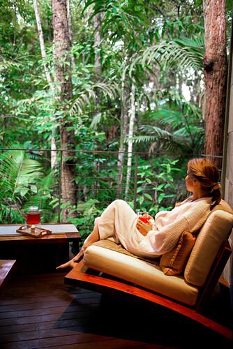 Vom Healing Waters Spa blickt man direkt in den Regenwald, Silky Oaks Lodge, Queensland, Australien