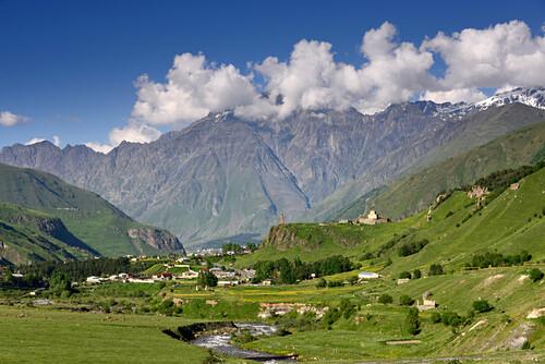 Near Kazbegi at the old Military road, Big Caucasus, Georgia