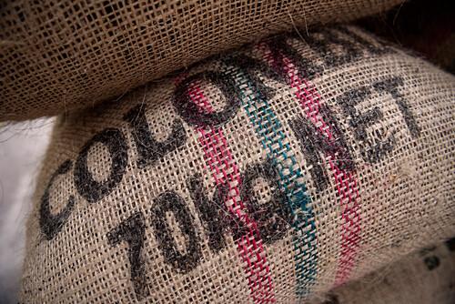 70 kg Sack mit Kaffeebohnen für den Export im Leinen Sack, Hacienda Venecia bei Manizales, UNESCO Welterbe Kaffee Dreieck (Zona Cafatera), Departmento Caldas, Kolumbien, Südamerika