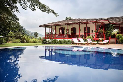 Luxus Unterkunft mit Pool auf Hacienda Venecia bei Manizales, UNESCO Welterbe Kaffee Dreieck (Zona Cafatera), Departmento Caldas, Kolumbien, Südamerika