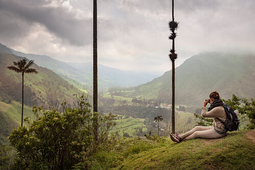 young female tourist taking picture of Cocora Valley, endemic wax palm trees, Salento, UNESCO World Heritage Coffee Triangle, Departmento Quindio, Colombia, Southamerica