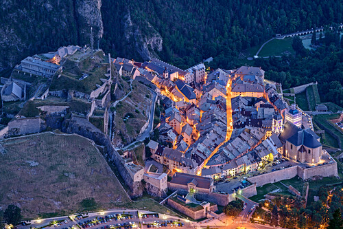 Fortified by Vauban, at night, with old town of Briancon Briancon, Dauphiné, Dauphiné, Hautes Alpes, France