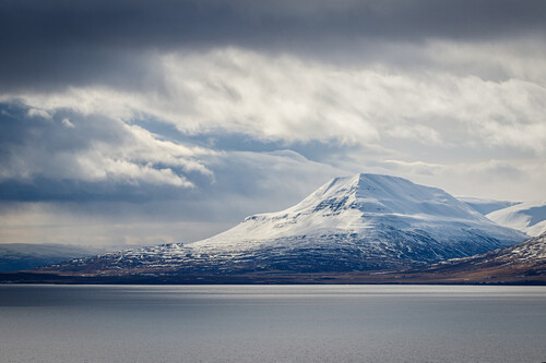 Mountain close to Dalvík in winter, Tröllaskagi, Iceland, Scandinavia