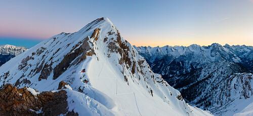 Alpine winter landscape, Bivouac place at a col, Panoramic shot, Samstagskarscharte, Karwendel, Tyrol, Austria