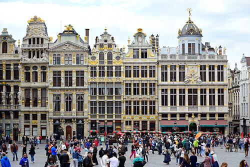Häuser im Stil der Barock auf dem Grand Place, Grote Markt Platz, Altstadt, Brüssel, Bruxelles, Brussel, Belgien, Benelux