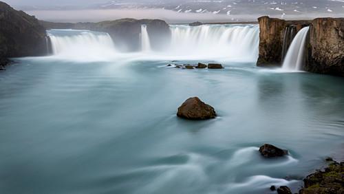 Langzeitbelichtung Wasserfall Goðafoss, Fosshol, Island