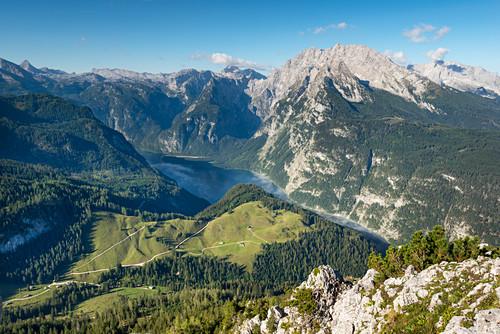 View from Jenner to Watzmann, Königssee, Schönfeldspitze and Steinernes Meer, Berchtesgaden National Park, Berchtesgadener Land, Upper Bavaria, Bavaria, Germany, Europe