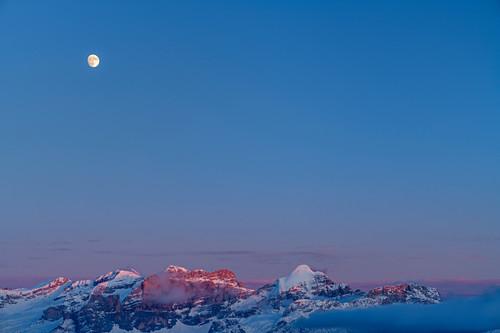 Mond über der Fanesgruppe im letzten Licht, Dolomiten, Weltnaturerbe Dolomiten, Südtirol, Italien