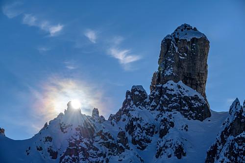 Sonne über Felstürmen der Cadini-Gruppe, Cadini, Dolomiten, Weltnaturerbe Dolomiten, Venetien, Venezien, Italien