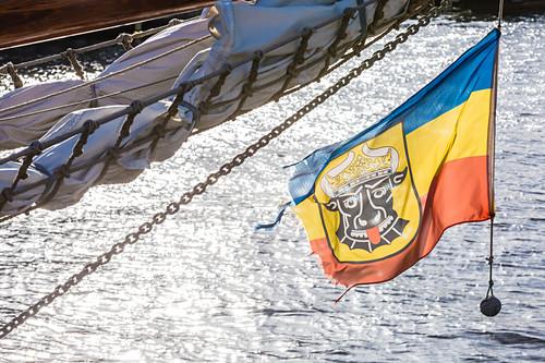 Wismars Wappen, eine von vielen Variationen, Hafen, Wismar, Mecklenburg-Vorpommern, Deutschland