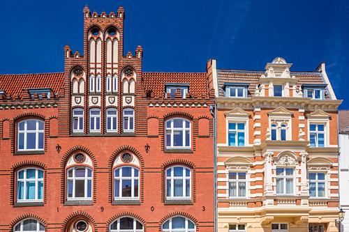 Häuser, gebaut Anfang des 20. Jahrhunderts, Spiegelbergstraße, Wismar, Mecklenburg-Vorpommern, Deutschland