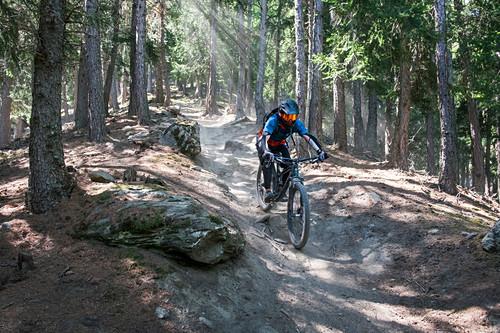 Mountainbiken am Sunny Benny Trail im Vinschgau, Italien