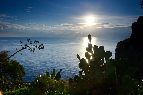 Sea with sun at the castle of Lipari, Aeolian Islands, southern Italy