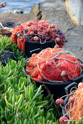 Ton fishing nets on the beach at Porto Levante on the island of Vulkano, Aeolian Islands, southern Italy