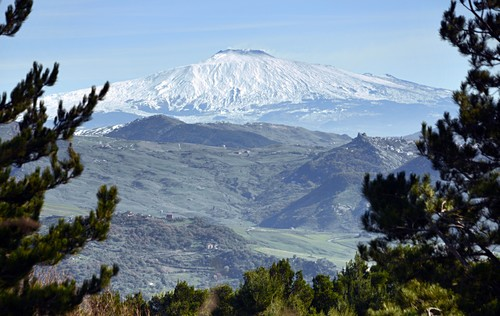 Landscape with a view of Mount Etna at Nicosia in the center, Sicily, Italy