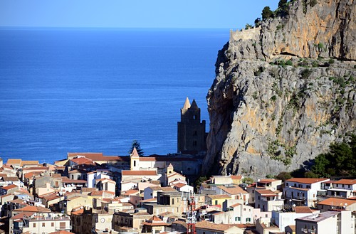 Old town with Duomo under the rock, Cefalu, north coast, Sicily, Italy