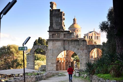 Ruins, Roman excavations at the Santuario della Madonna Nera, Tindari, north coast, Sicily, Italy