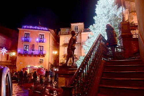 Evening, Christmas tree, old town, Christmas, winter in Novara di Sicilia, Sicily, Italy