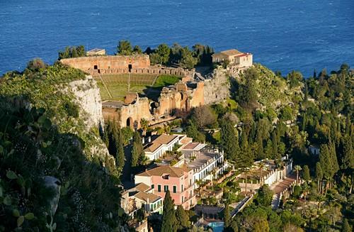 Greek theater, sea, Teatro Greco, Taormina, east coast, Sicily, Italy