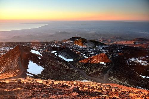 Morning landscape at Etna volcano, sea coast at Catania, east coast, Sicily, Italy