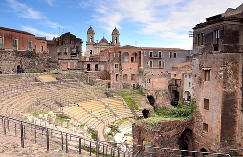 Excavation of the Roman Teatro Romano, Catania, Sicily, Italy