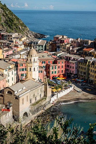 View from the top of the vineyards down to Vernazza, Cinque Terre, Italy