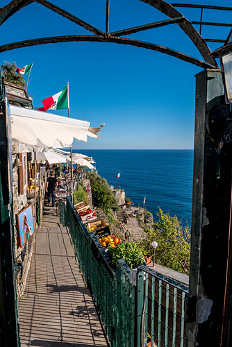 Restaurant in the vineyards above Vernazza, Cinque Terre, Italy