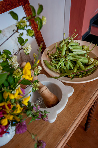 Mortar zuccini and fresh peas from the garden on a sideboard, Cinque Terre, Italy