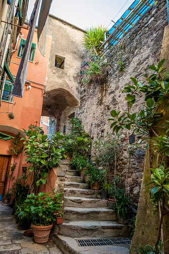 In the narrow streets of Vernazza, Cinque Terre, Italy