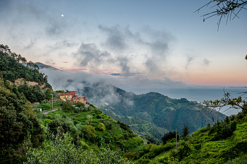 Hilly landscape with a house above Vernazza, Cinque Terre, Italy