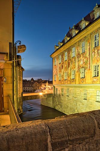 Blick auf das Rathausgemälde in Bamberg, Oberfranken, Franken, Bayern, Deutschland, Europa