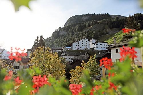 Blick aus einem Zimmer des Hotel Bodenhaus, Splügen, Graubünden