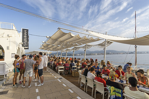 Savannah Beach Club in San Antonio, Ibiza, Balearen, Spanien