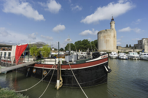 Aiges Mortes,  Boote,  Wehrturm,  Camargue,  Frankreich